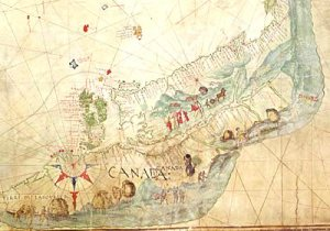 "The ""Dauphin"" Map, now in the British Library, shows what is thought to be the first recorded use of ""Canada"" on a map. © Copyright The British Library Board Ms. Add. 5413. 'A large chart of the world... highly ornamented, with figures, etc., with the names in French'. Anon. Dieppe, c. 1542-1544? [The 'Dauphin' or 'Harleian' Map]."